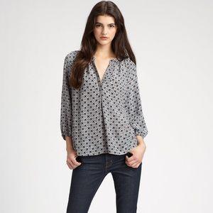 Joie Modele Addie B Print Silk Popover Blouse
